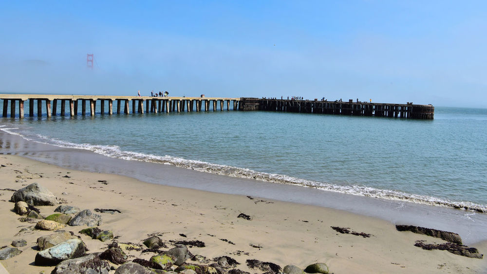 Golden Gate Bridge @ Fort Point 10 San Francisco Bay Golden Gate Bridge 1937 Fort Point 1861 Torpedo Wharf Foggy Day Fog Diminishing Perspective Vanishing Point Ocean Seaside Pier People On Pier Tideline Nature Beauty In Nature Seaweed Tranquility Rock Sand Water
