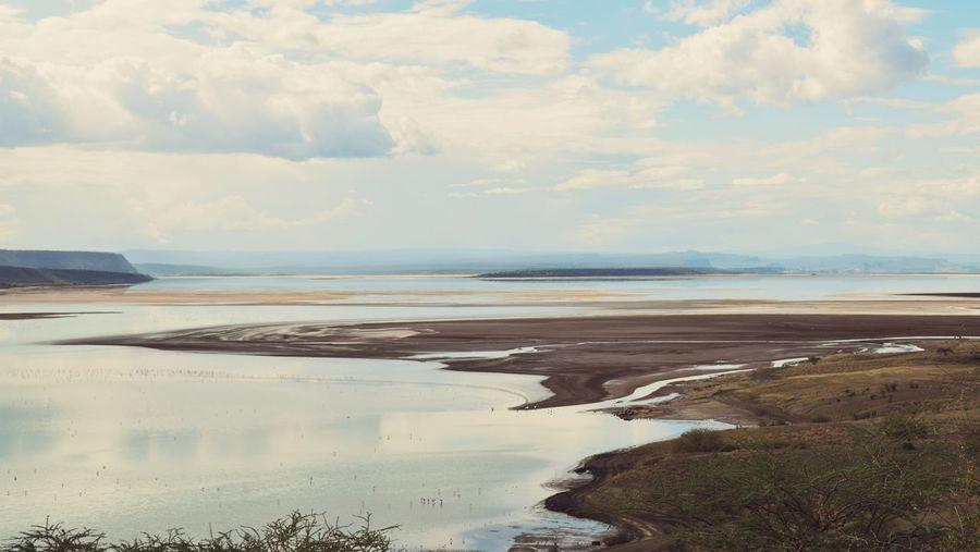 View of sea against cloudy sky, lake magadi, kenya