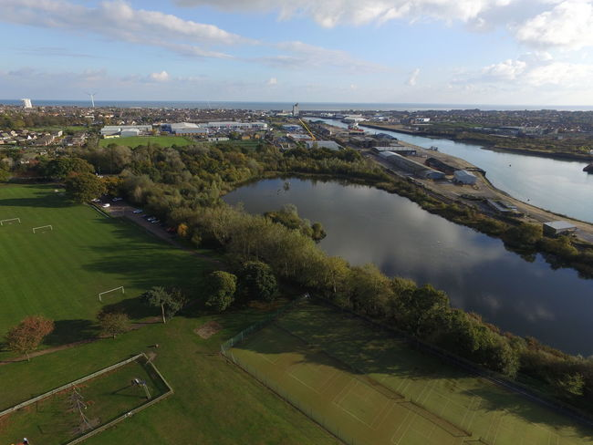 Aerial Shot Arial Grass Outdoors River Riverside Sky Water