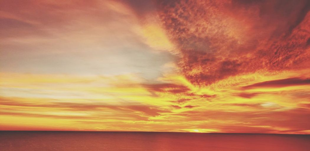 Water Sea Sunset Horizon Red Yellow Awe Saturated Color Dramatic Sky Orange Color