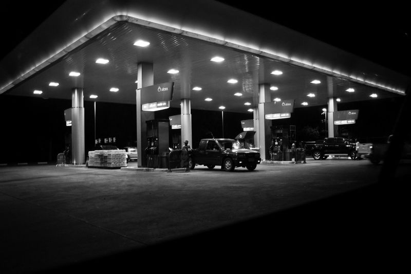 Pump station at night Illuminated Night Built Structure Lighting Equipment Fuel Pump Architecture Gas Station Refueling Dark Transportation Building Exterior City Filling Outdoors Fuel And Power Generation Mode Of Transportation No People Street Business Motor Vehicle