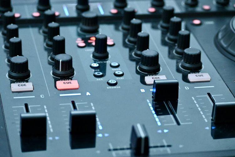 Full frame shot of dj music  mixer