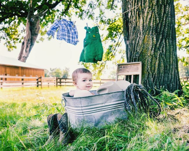 Bath time in the country Children Photography Hanging Out Relaxing EyeEm Gallery Bygone Era Springtime Childhood Cute Boys Bath Time Wash Wash Tub Clothesline Clothespins