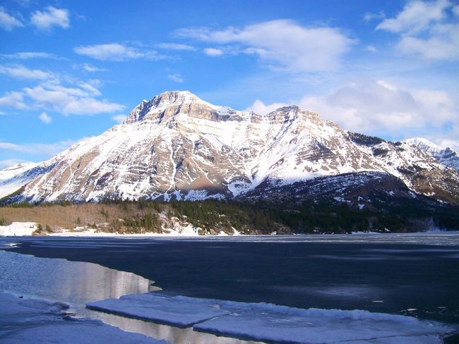 Sky Mountain Frozen Water Beauty In Nature Canada Waterton Lakes National Park