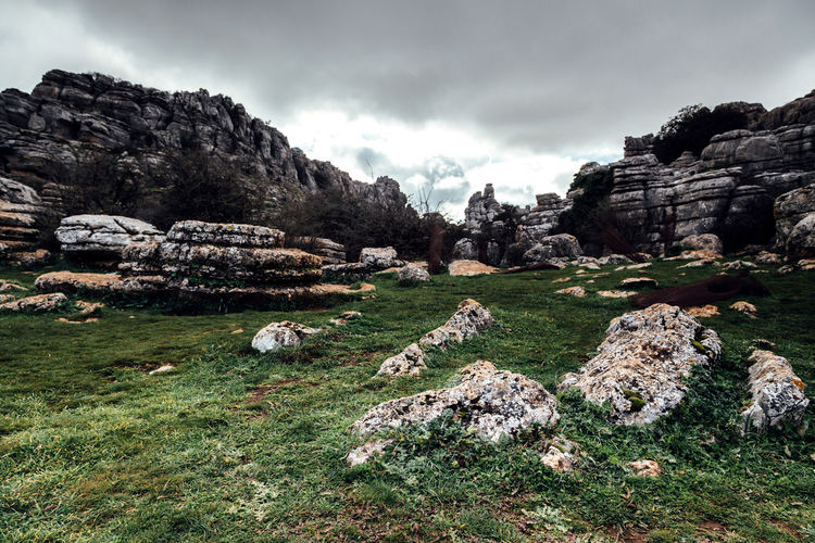 Andalusia Beauty In Nature Cloud Grass Landscape Mountain Nature Outdoors Rock Rock - Object Rock Formation Rocky Mountains Scenics Sierra Del Torcal Sky The Great Outdoors - 2016 EyeEm Awards Torcal De Antequera Tranquil Scene Tranquility Travel