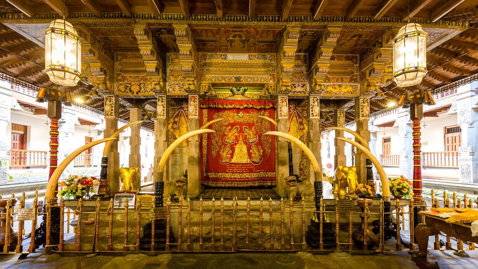 The tooth sanctuary, Relic of the tooth of the Buddha, Kandy, Sri Lanka Architecture Buddhism Cultures Gold Gold Colored Indoors  Kandy No People Place Of Worship Relict Religion Sacred Sanctuary  Shrine Sri Dalada Maligawa Sri Lanka Sri Lankan Statue Temple Temple - Building Tooth Tourism