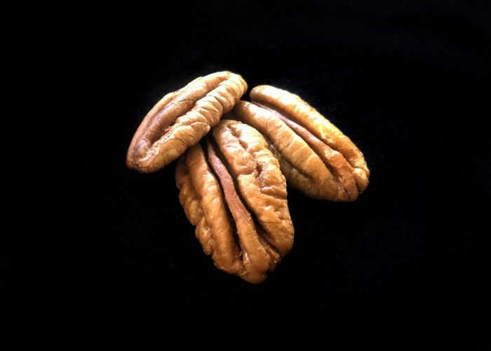 High angle view of bread against black background