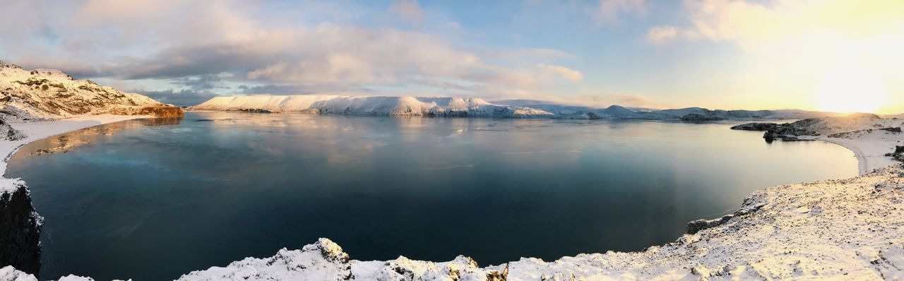 Panoramic view of lake by snowcapped mountains against sky