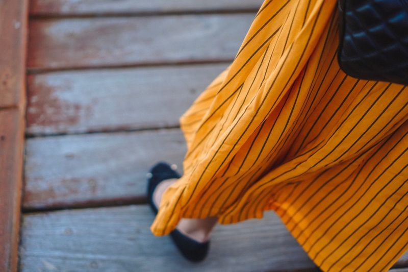 Yellow Dress Day Close-up Textile Clothing Focus On Foreground Pattern Orange Color Yellow No People Outdoors Body Part Brown Sunlight Detail Nature Textured  Scarf