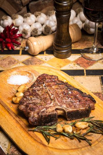 Beef Beef Steak Cooking Dinner Beef Beefsteak Close-up Day Food Food And Drink Freshness Indoors  Meat No People Plate Restaurant Rib Serving Dish Spice Steak T-bone T-bone Steak Table