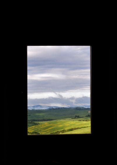 Tuscany landscape in the window Cloud Cloud - Sky Field Green Color Idyllic Landscape Morning Nature No People Sky Tuscany Tuscany Italy Tuscanygram Window