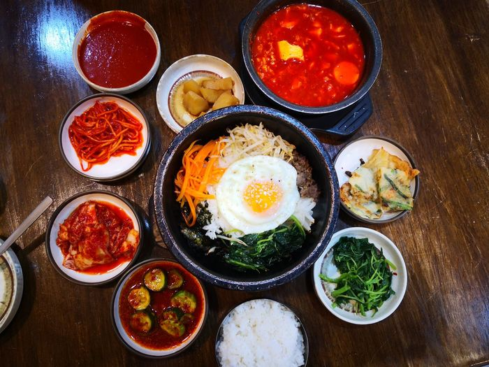 Korean Food Egg Yolk Directly Above Fried Egg Tomato High Angle View Egg Vegetable Close-up Food And Drink
