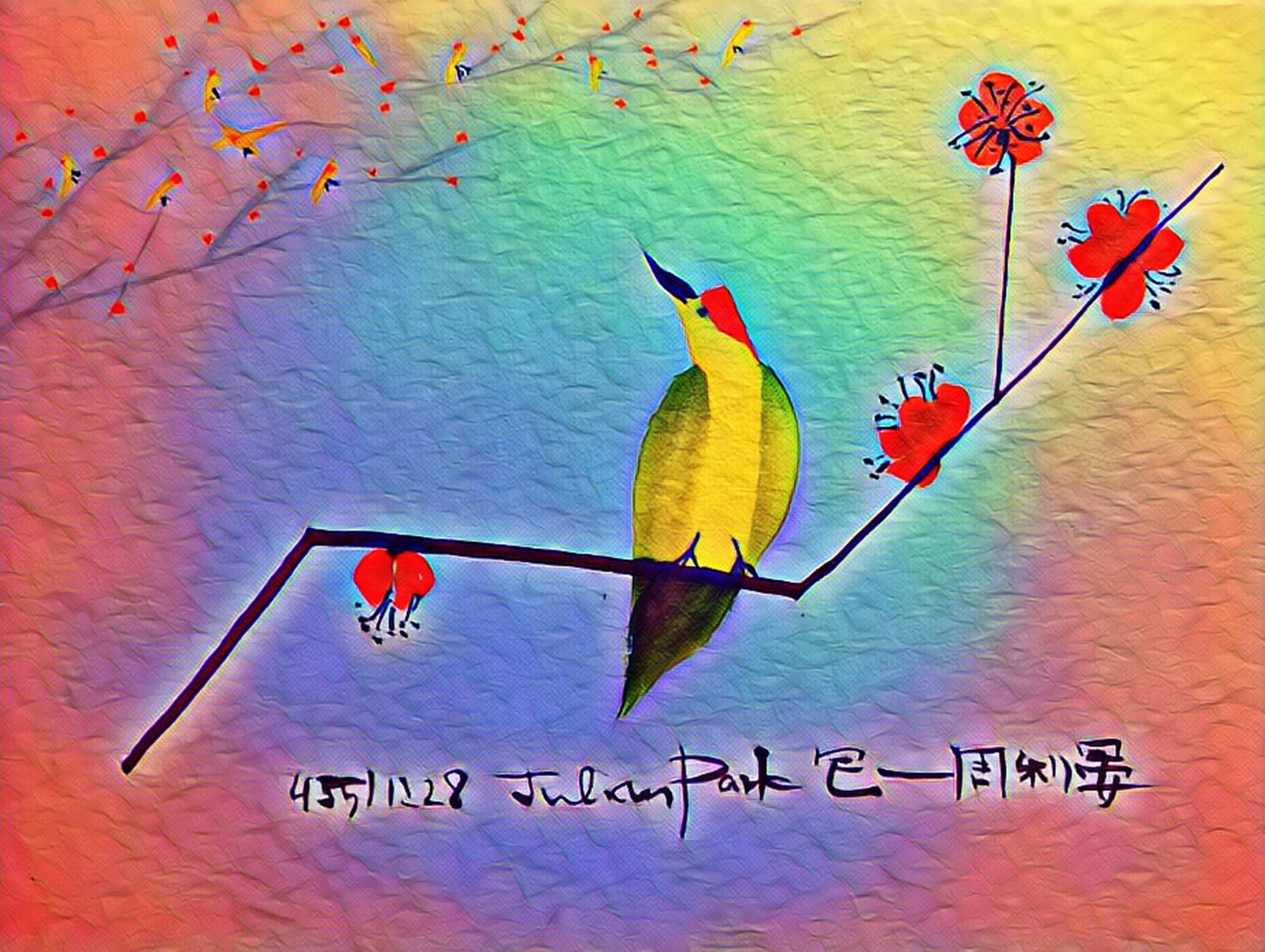 multi colored, art and craft, no people, representation, bird, creativity, paper, vertebrate, text, indoors, western script, parrot, close-up, craft, nature, red, human representation