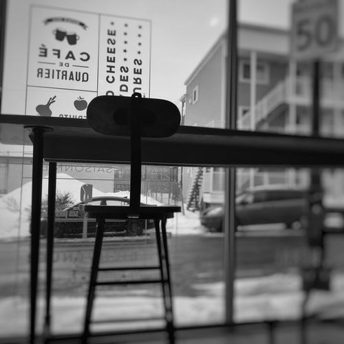 Pause café at #cafegeneral IPhoneography BW_photography Mobilephotography Sherbylove Sherbrooke Text Communication Indoors  No People Day