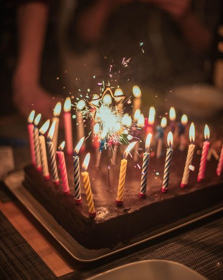 Sachertorte Birthday Birthday Cake Candlelight Celebration Cake Food Birthday Party Multi Colored Close-up Diya - Oil Lamp Candlelight Candlestick Holder Festival Flame Darkroom Candle Entertainment Lit Burning