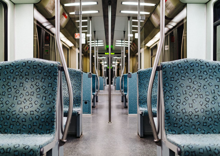 Empty commuter train Berlin Berlin Photography Diminishing Perspective Empty Fear Focus On Foreground Futuristic In A Row Long Lonliness No People Public Transport S-bahn S-Bahn Berlin The Way Forward