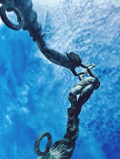 Portal Maya Steel High Angle View Sea Life Marine Blue Sky Cloudy Statues And Monuments Statue Monument Sky And Clouds Mayan View From Above Portal Nature Real People Day Water Blue Sky Sea Outdoors Cloud - Sky Low Angle View Full Length Lifestyles Leisure Activity