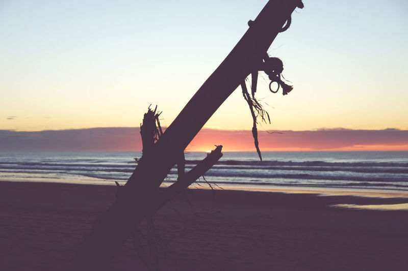 Silhouette driftwood on beach against sky during sunset