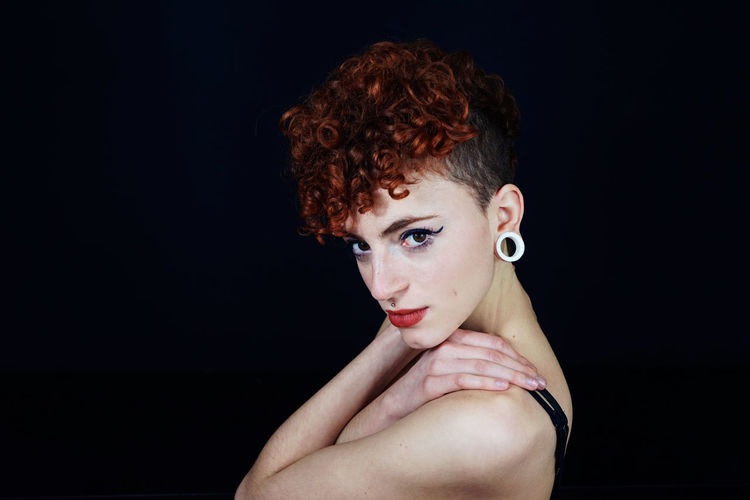 Cool Piercing Shaved Head Youth Of Today Adult Adults Only Beautiful Woman Black Background Close-up Day Headshot Indoors  Lifestyles Looking At Camera One Person One Young Woman Only People Portrait Real People Shirtless Studio Shot Young Adult Young Women