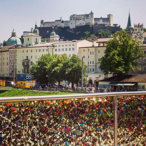 Fortress Hohensalzburg from the Markatsteg Salzburg Salzburg, Austria Downtown Markatsteg Lovelocks Lovelockbridge Altstadt Liebesschloss Liebesschlösser Festung Hohensalzburg