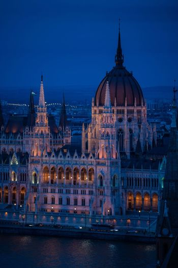 Conspired Parliament Building Budapest Hungary Illuminated Architecture Building Exterior Built Structure Night City Travel Destinations Dusk Dome Building Travel Tourism Government Outdoors