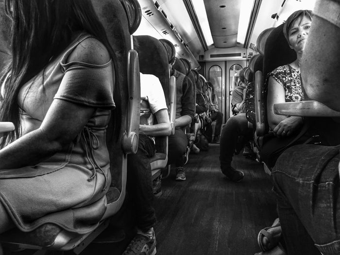 On the Train Vehicle Interior Vehicle Seat Indoors  Sitting Men Real People Day People Women