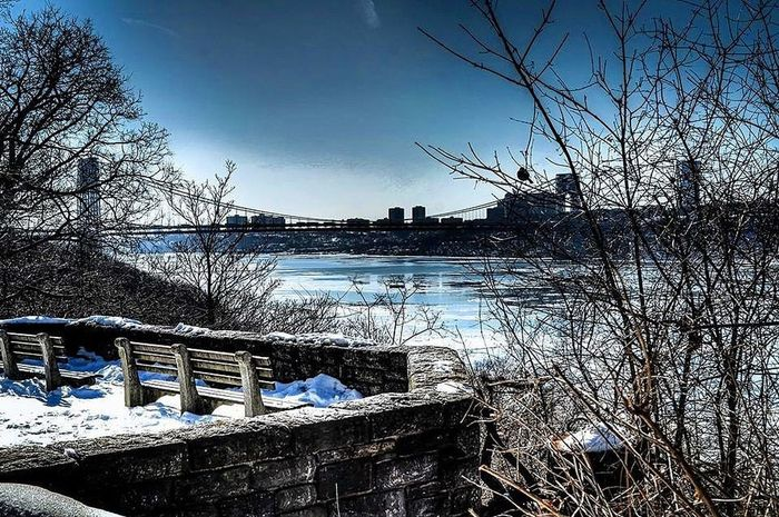 Chill Landscape Sky Mountain Photographer NYC River Bare Tree Winter Day Outdoors Railing Nature Shades Of Winter Cold Temperature No People Tree Water Snow Scenics Beauty In Nature