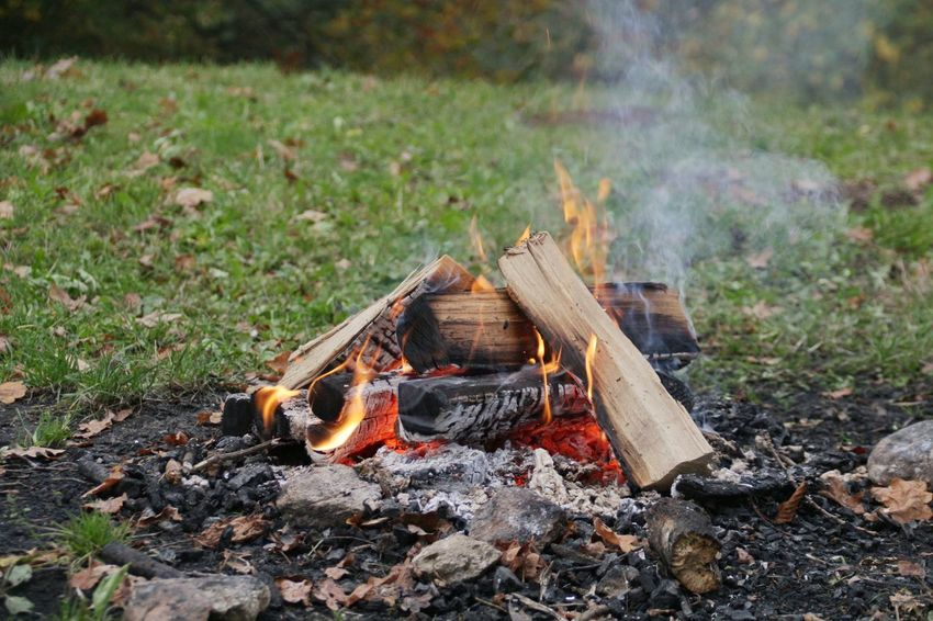 Flame Burning Outdoors Heat - Temperature Fire Pit Grass Bonfire No People Nature Field Feuer Lagerfeuer
