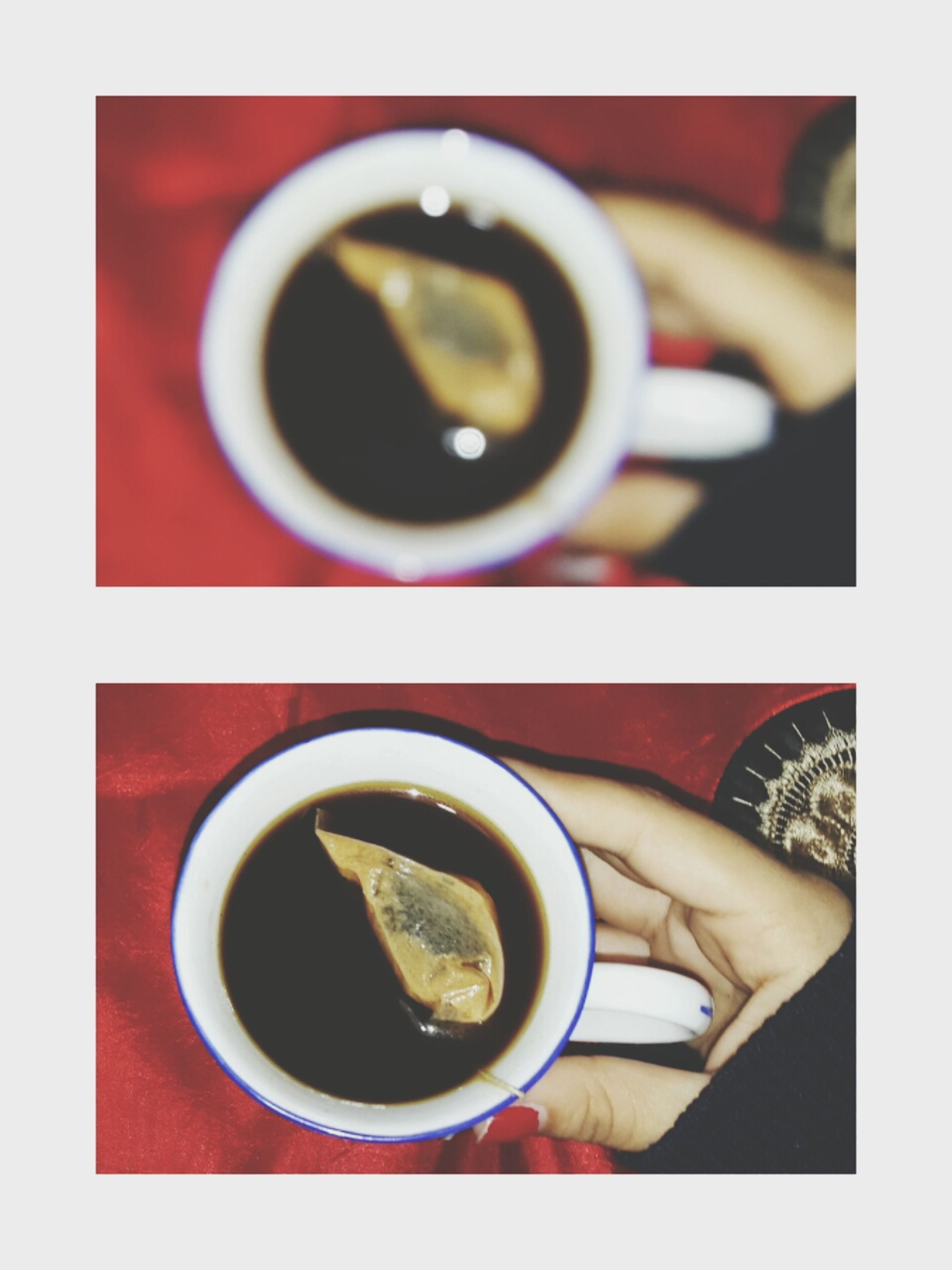 coffee cup, drink, refreshment, food and drink, coffee - drink, coffee, indoors, cup, freshness, table, saucer, transfer print, tea, holding, tea cup, beverage, auto post production filter, close-up