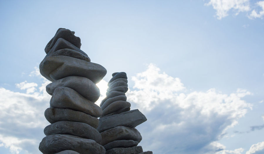pebble stone towers by the sea, Zen, peace Sky Cloud - Sky Stack Low Angle View No People Nature Day Balance Outdoors Solid Stone - Object Focus On Foreground Sculpture Close-up Spirituality Religion Rock Sunlight Art And Craft Statue