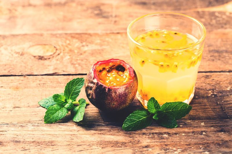 Passion Fruit Passion Food And Drink Drink Food Table Refreshment Freshness Glass Drinking Glass Leaf Wood - Material Fruit