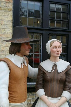 Mannekins in Puritan Costume. Ely Cambridgeshire UK Two People Adult Adults Only Women Mature Adult Mid Adult Business Finance And Industry Togetherness Mature Women Arts Culture And Entertainment People Couple - Relationship Day Business Smiling Outdoors Mature Couple Men Only Women Young Women