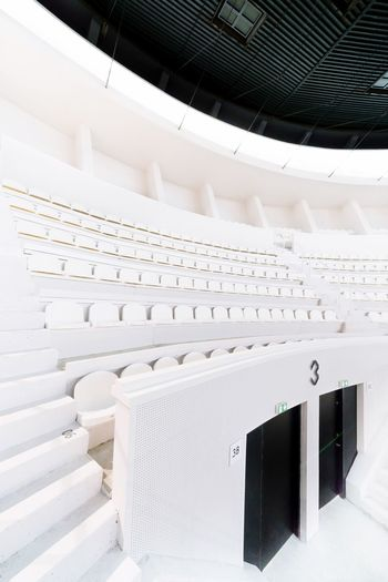 Whiteness Contrast Black And White White Seats Archilovers Architectural Detail Architecture Palais Des Sports Bordeaux Basketball Stadium White Color Indoors  Architecture Built Structure Auditorium No People Day The Architect - 2018 EyeEm Awards