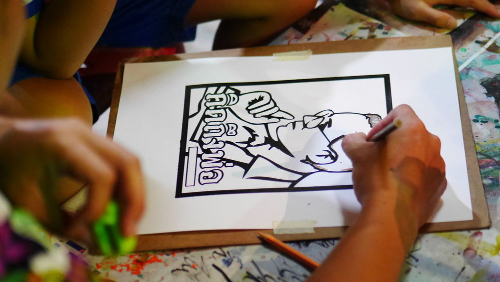 The KING Of Thailand Art And Craft Artist Close-up Creativity Day Drawing Drawing - Activity Drawing - Art Product High Angle View Holding Human Body Part Human Hand Human Representation Indoors  One Person Paper People Public Picture Real People Sketch Sketch Pad Skill