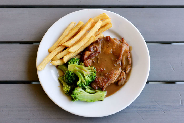 Brocolli Chicken Chicken Chop Close-up Food French Fries Garnish Indulgence Meal Meat No People Plate Ready-to-eat Sauce Served Serving Size Still Life Temptation