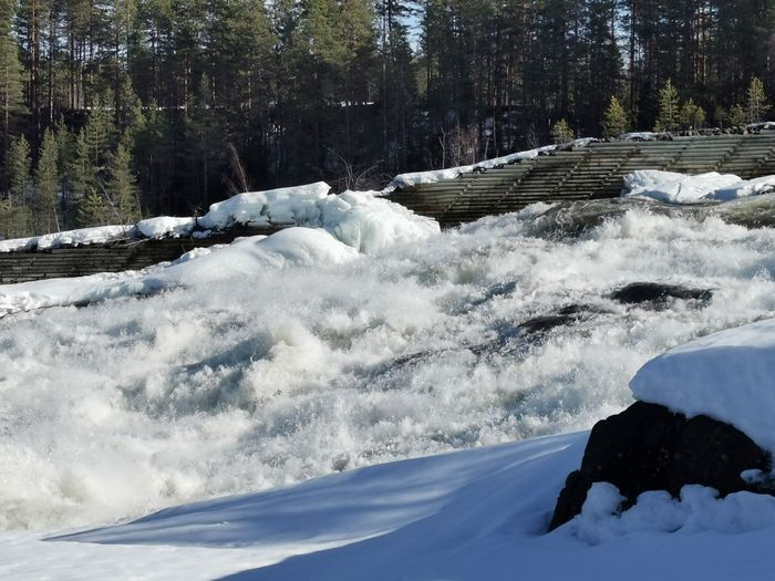 Scenic view of waterfall in winter