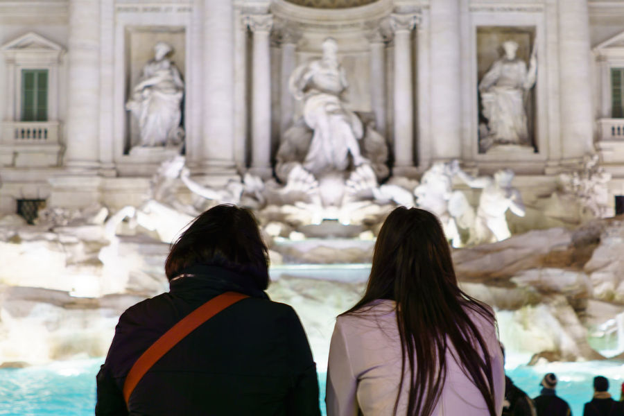 After Dark Architecture Famous Place Famous Places Fontana Di Trevi Fountain International Landmark Night Lights People People Watching Sculpture Tourism Tourists Travel Snap A Stranger Travel Destinations Selective Focus People Together Two Is Better Than One