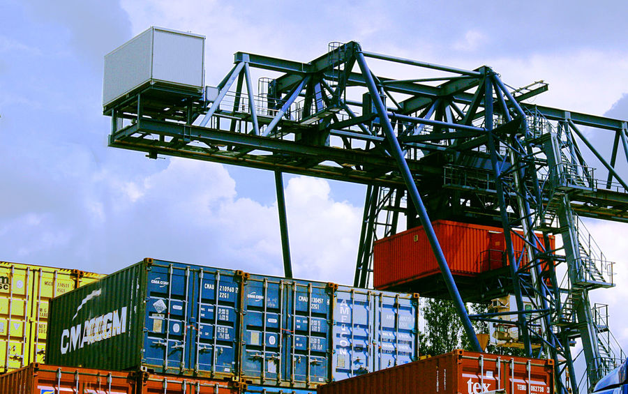 Container Container Loading Container Terminal Containerization Frankfurt Harbor Sky Stacks Of Container