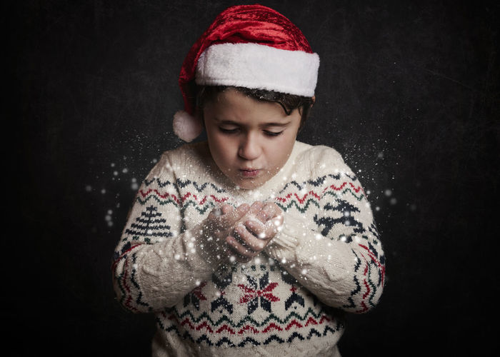 Santa Claus Christmas Christmas Eve December Fun Happiness Happy Holidays New Year Snow ❄ Tradition Winter Black Background Celebration Child Childhood Christmas Close-up Cold Temperature Cute Party Snow Snowflake Snowing Winter