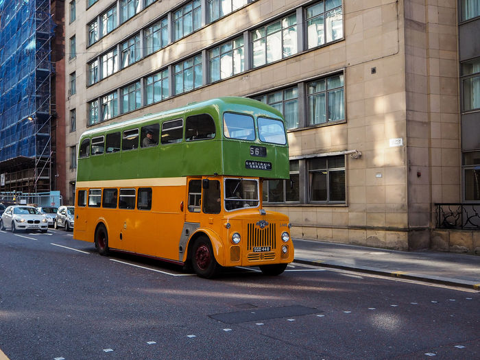 Glasgow  Scotland Architecture Building Exterior Built Structure Bus Car City Day Double Decker Bus Land Vehicle Mode Of Transport Modern No People Outdoors Public Transportation Road Sky Street Streetphotography Transportation Yellow