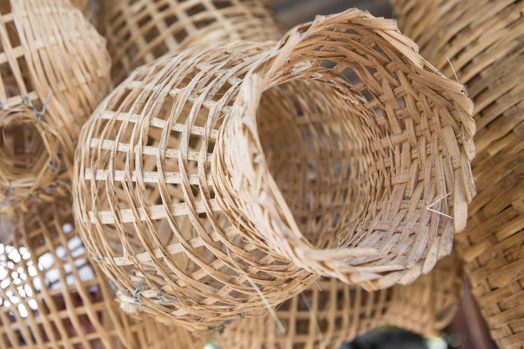 Handmade basket Wicker from Thailand Wicker Art And Craft Basket Brown Close-up Container Craft Focus On Foreground Group Of Objects Handmade Indoors  Man Made Man Made Object Nature No People Pattern Selective Focus Still Life Sunlight Textile Textured  Wicker