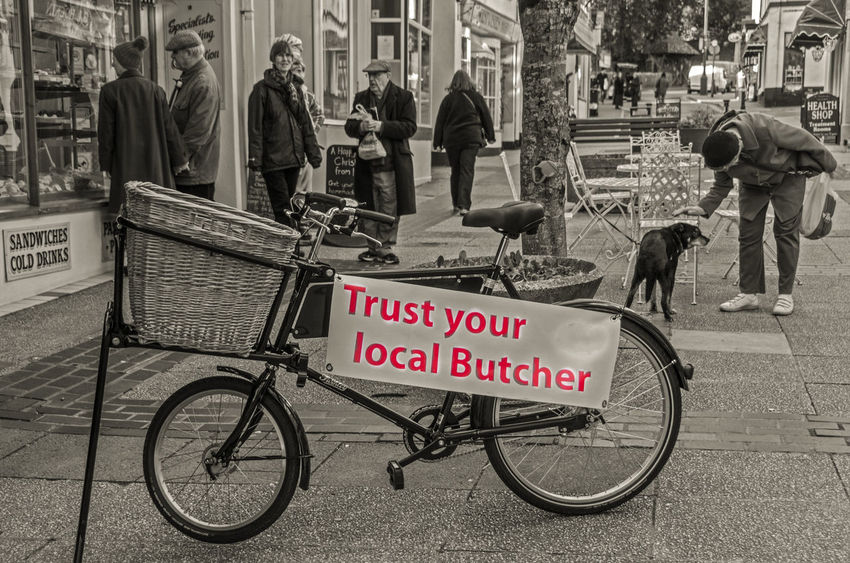 Basketball Bicycle Butcher Devon Local People People Watching Town Trust