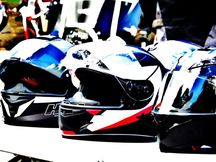 Arty Pic. Blue Edited. In A Row... Motorcycle Headwear. Motorcycle Helmets. No People. Beauty In Nature Diamond Pattern Red. Safety. Lifesaver. Three Helmets.