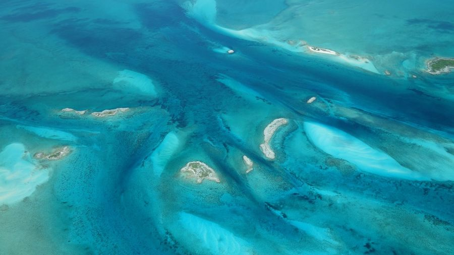 Aerial view of exuma cays
