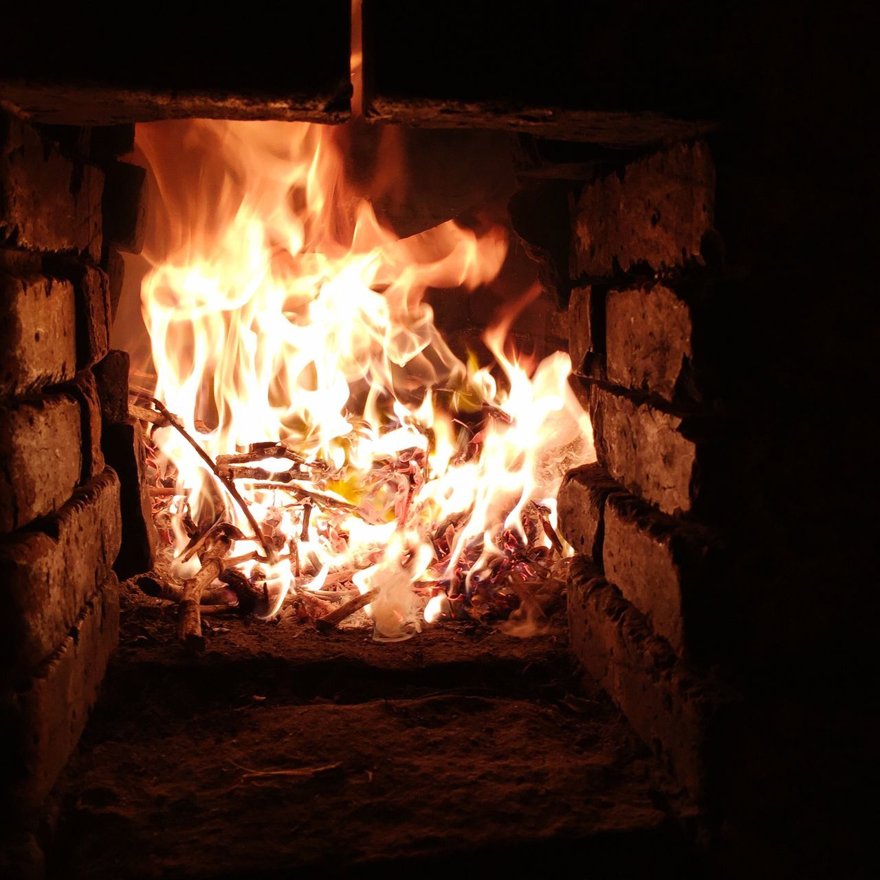 flame, burning, glowing, heat - temperature, night, no people, wood - material, bonfire, outdoors, close-up