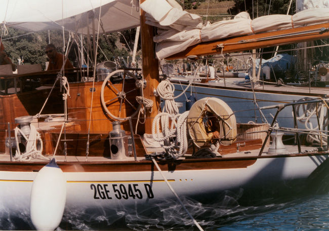 Harbor Portofino Sangermani Transportation Caligo Day Film Photography Mode Of Transport Moored Nautical Vessel Outdoor Outdoors Reflction See Transportation Travel Destinations Vintage Boat Water Waterfront Yacht 35mm 35mm Film
