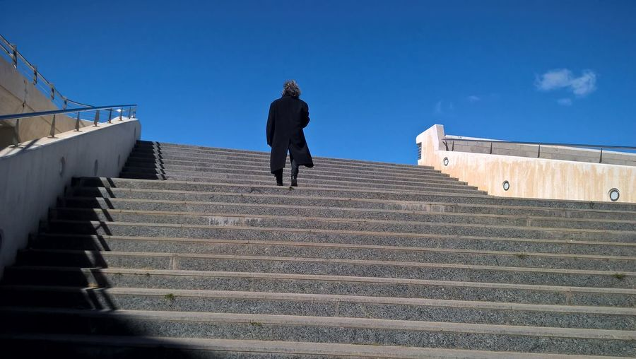 Architecture Lines Man València Blackfigure Colorful Day Gometric Illusion Moving Up One Person Siluette Sky Steps Walking Stories From The City