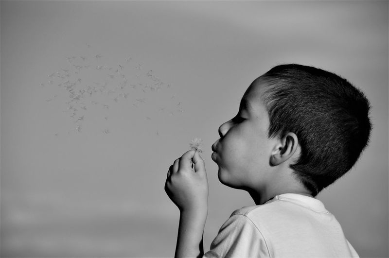 Close-up of cute boy blowing dandelion while standing outdoors
