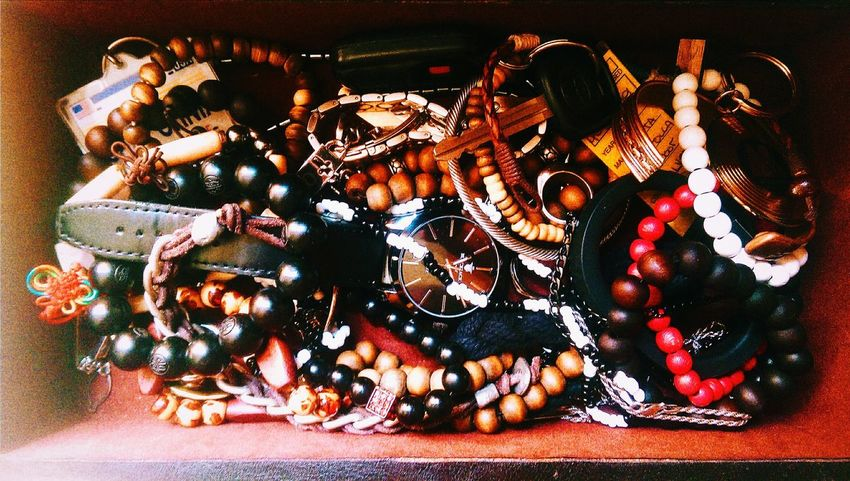 Jewelry Jewelbox Bracelet Necklace Wooden Wooden Texture Ornate Jumbled Jumbled Mess Fashion Hodgepodge Brown Rings