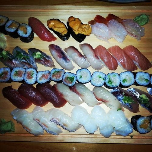 Heaven on a plate Sushi BestInShow Bestsushiintown Sea Urchin Blue Fin Tuna Fatty Tuna NYC Best Lunch Period